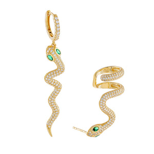 Gold Pavé Snake Ear Cuff X Huggie Earring Combo Set - Adina's Jewels