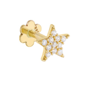 14K Gold / Single Pavé Star Threaded Stud Earring 14K - Adina's Jewels