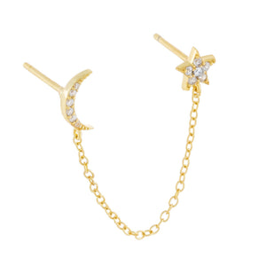 Gold / Single Pavé Star X Moon Drop Stud Earring - Adina's Jewels