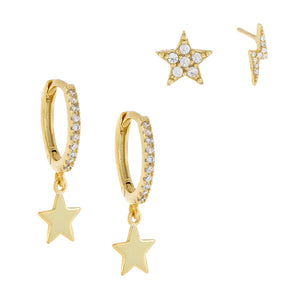 Combo Pavé Star X Lightning Earring Combo Set - Adina's Jewels