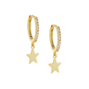 Gold CZ Star Huggie Earring - Adina's Jewels