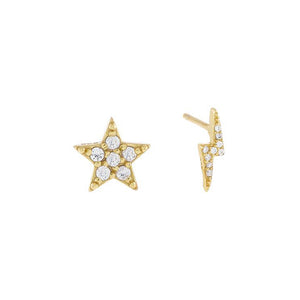 Gold CZ Star x Lightning Stud Earring - Adina's Jewels