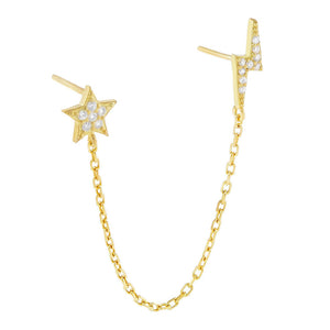 Gold / Single Pavé Star X Lightning Chain Stud Earring - Adina's Jewels