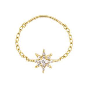 Gold / 7 Pavé Starburst Chain Ring - Adina's Jewels