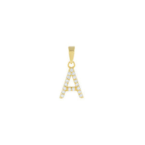 Gold / A Pavé Initial Necklace Charm - Adina's Jewels