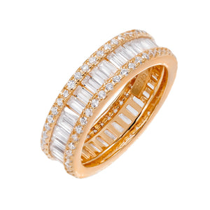 Rose Gold / 9 Round X Baguette Eternity Band - Adina's Jewels