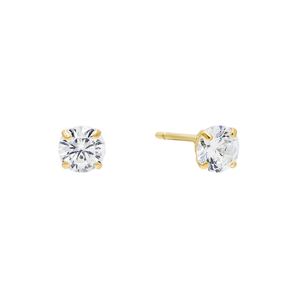 14K Gold / 5 MM / Pair Solitaire Stud Earring 14K - Adina's Jewels