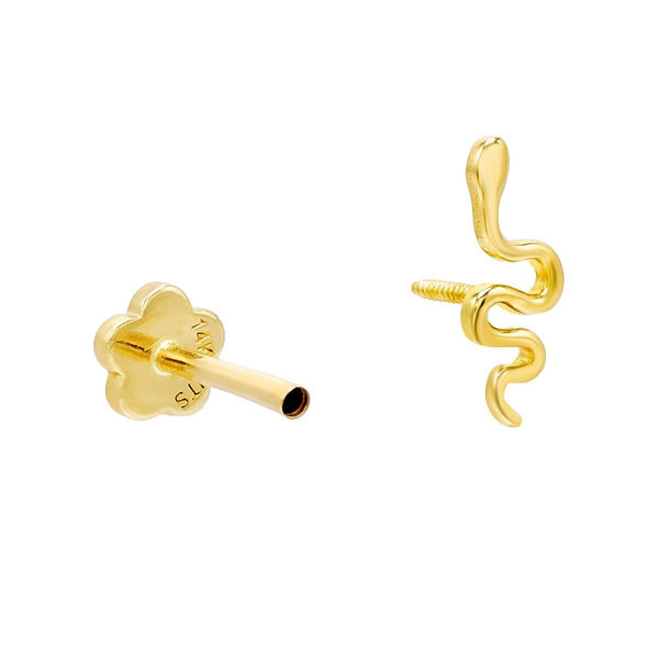 Snake Threaded Stud Earring 14K - Adina's Jewels