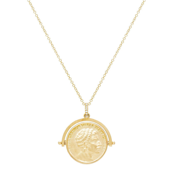 14K Gold Vintage Coin Necklace 14K - Adina's Jewels