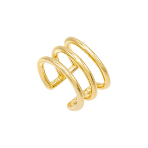 Solid Triple Ear Cuff 14K 14K Gold - Adina's Jewels