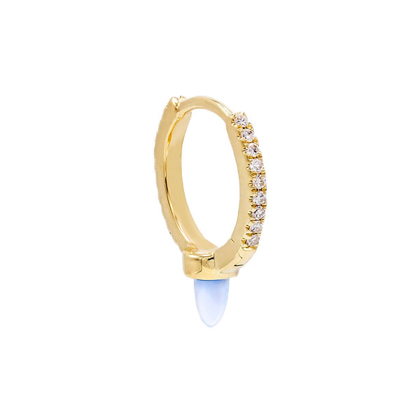 Diamond Opal Spike Huggie Earring 14K - Adina's Jewels