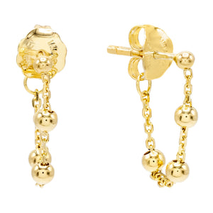14K Gold Ball Chain Stud Earring 14K - Adina's Jewels
