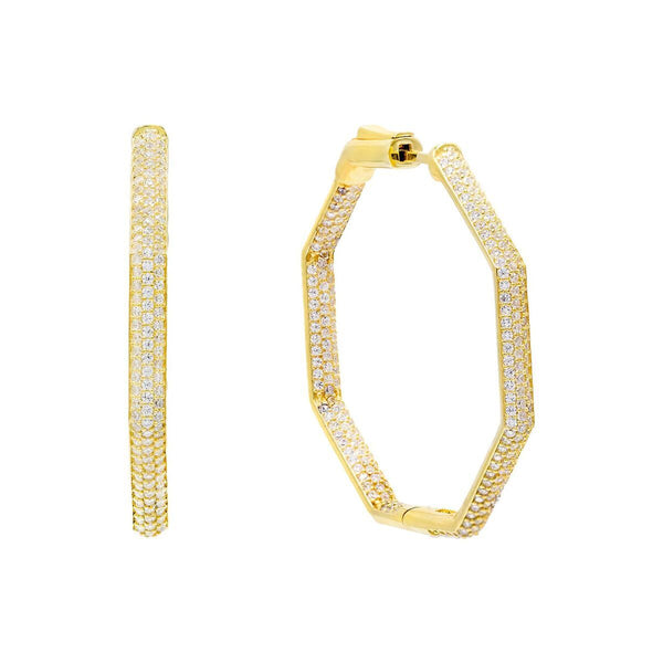 Gold / 40 MM Pavé Octagon Hoop Earring - Adina's Jewels