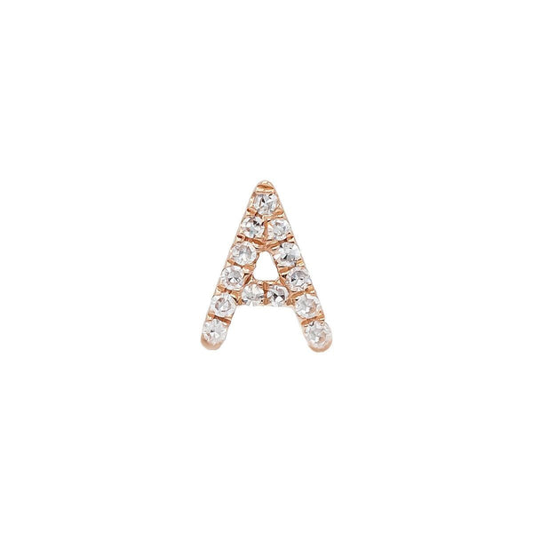14K Rose Gold / Single Diamond Initial Stud Earring 14K - Adina's Jewels