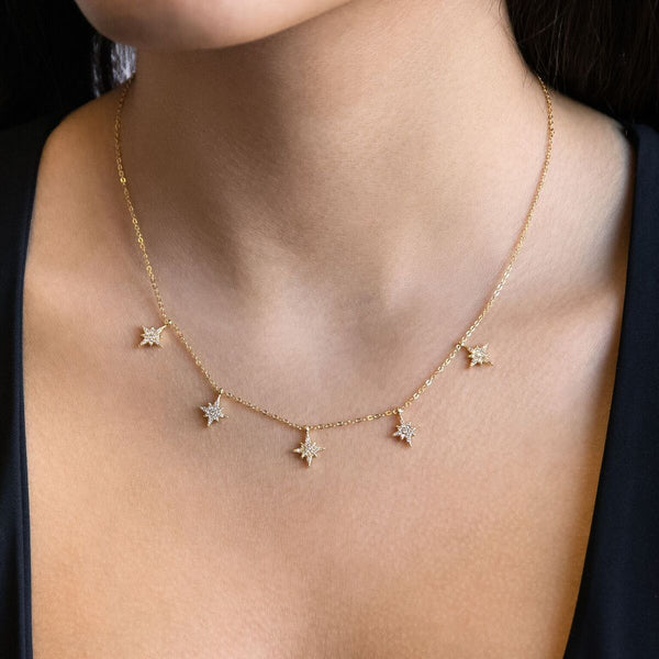 Dangling Pave Starburst Necklace - Adina's Jewels