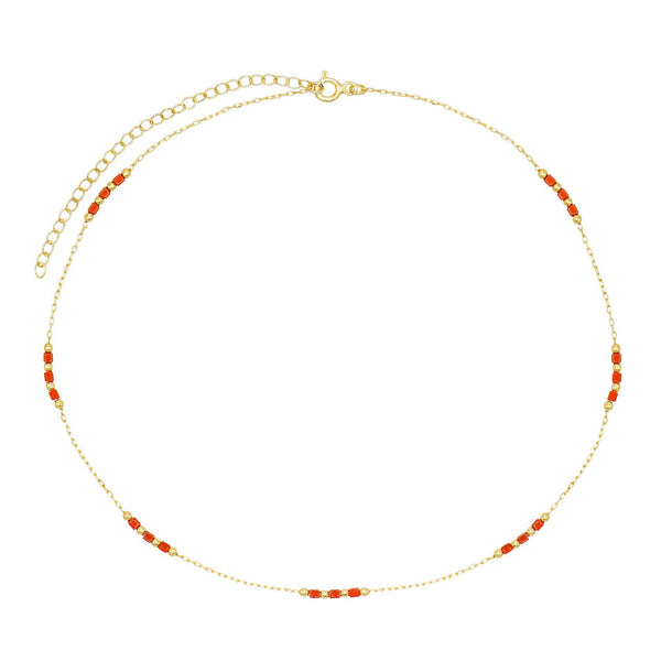 Ruby Red Beaded Chain Choker - Adina's Jewels