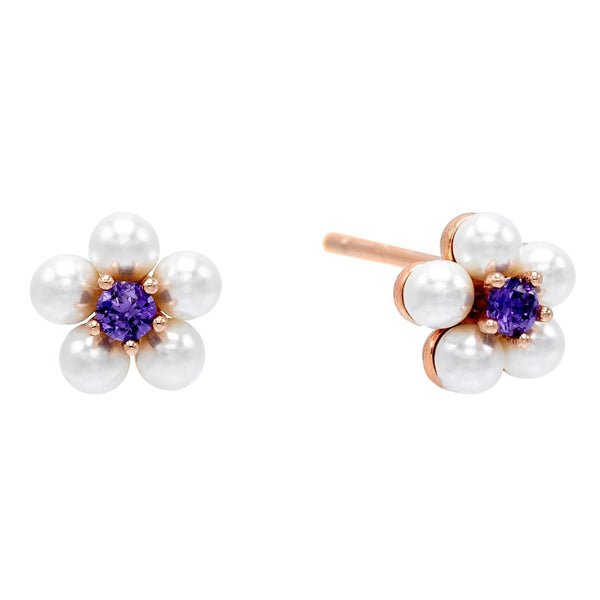 Amethyst Purple Pearl Flower Stud Earring - Adina's Jewels