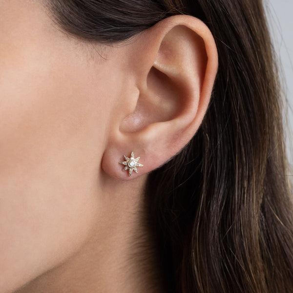 Diamond Starburst Stud Earring 14K - Adina's Jewels