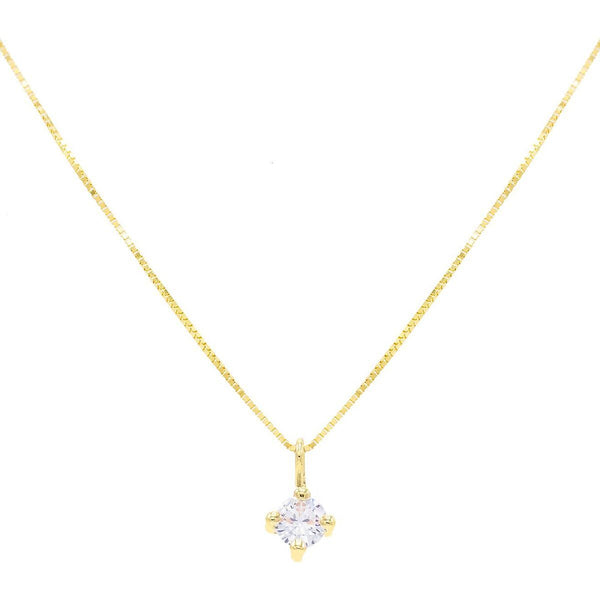14K Gold CZ Solitaire Necklace 14K - Adina's Jewels