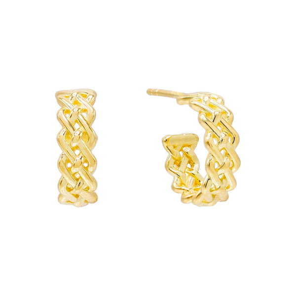 Gold Woven Chain Hoop Earring - Adina's Jewels