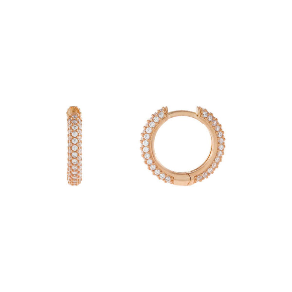 Rose Gold Wide Pavé Huggie Earring - Adina's Jewels