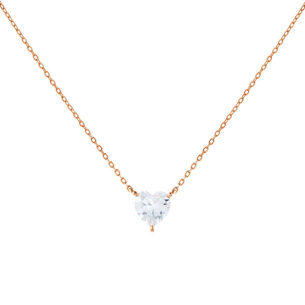 Rose Gold CZ Heart Stone Necklace - Adina's Jewels