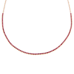 Magenta Diamond Ruby Tennis Necklace 14K - Adina's Jewels