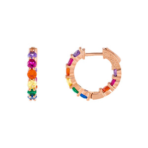 Multi-Color CZ Rainbow Huggie Earring - Adina's Jewels