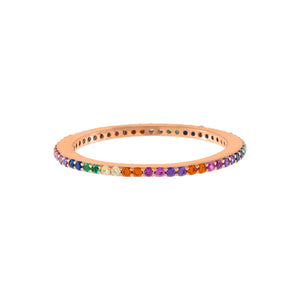 Rose Gold / 5 Thin Rainbow Ring - Adina's Jewels