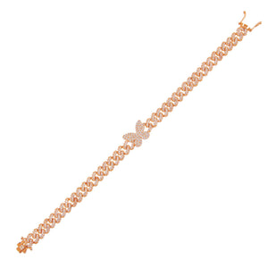 Rose Gold Pavé Butterfly Chain Link Bracelet - Adina's Jewels