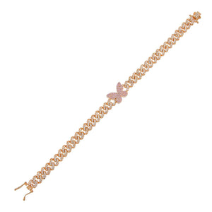 Rose Gold Pavé Pink Butterfly Chain Link Bracelet - Adina's Jewels
