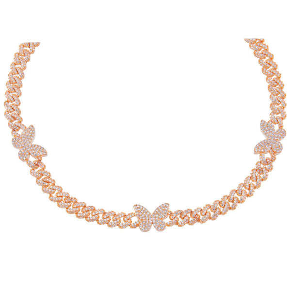 Rose Gold Pavé Butterfly Chain Link Choker - Adina's Jewels