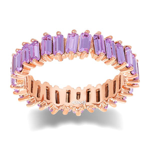 Lilac / 8 Crystal Colored Baguette Eternity Band - Adina's Jewels