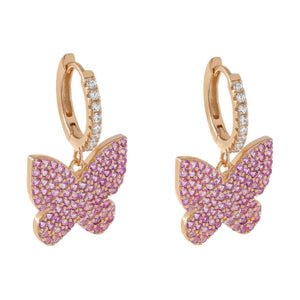 Rose Gold Pavé Pink Butterfly Huggie Earring - Adina's Jewels