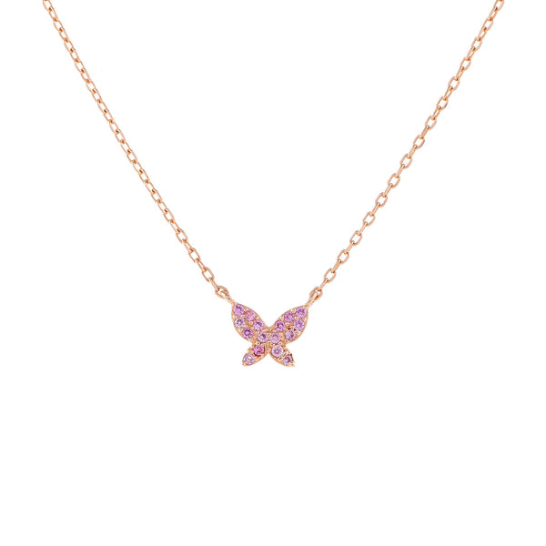 Rose Gold Pavé Mini Pink Butterfly Necklace - Adina's Jewels