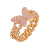 Rose Gold / 6 Pink Pavé Butterfly Chain Link Ring - Adina's Jewels
