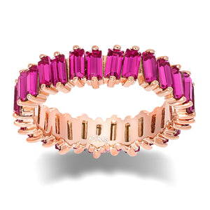 Magenta / 7 Crystal Colored Baguette Eternity Band - Adina's Jewels