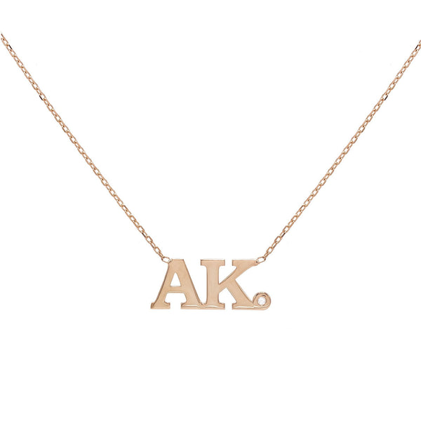 Double Initial Block Necklace
