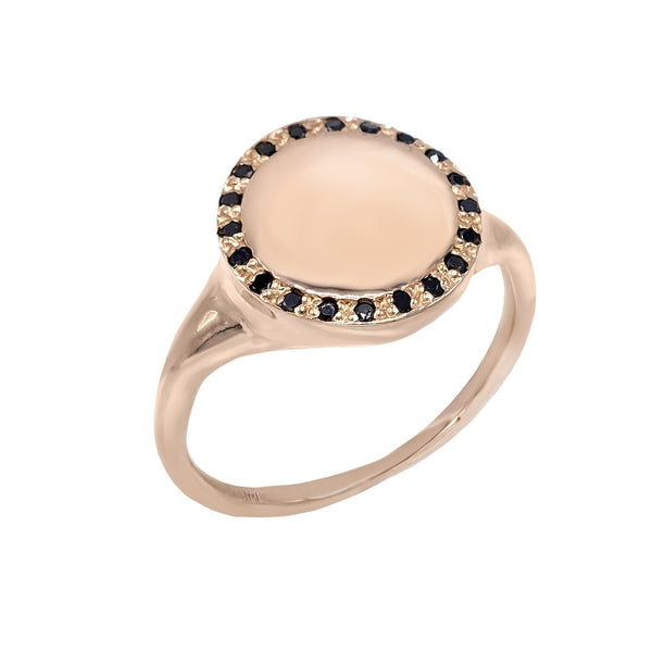 14K Rose Gold / 4 Diamond Signet Ring 14K - Adina's Jewels