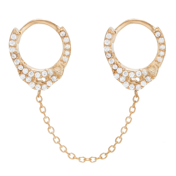 Rose Gold / Single CZ Handcuff Chain Huggie Earring - Adina's Jewels