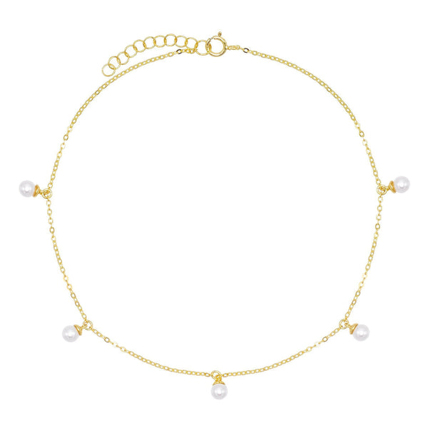 Pearl White Pearl Charm Anklet - Adina's Jewels