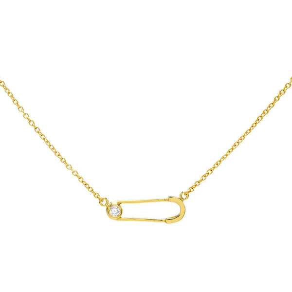 Gold Safety Pin Necklace - Adina's Jewels
