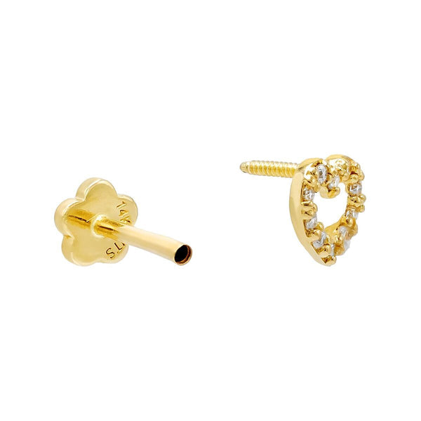 Open Heart Threaded Stud Earring 14K