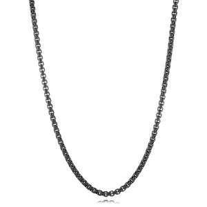 Matte Round Box Chain Necklace Onyx - Adina's Jewels