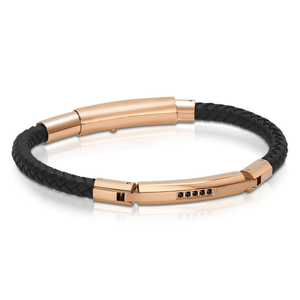 Rose Gold IP Leather Bracelet - Adina's Jewels