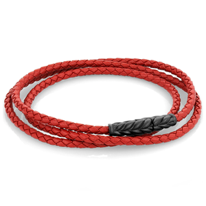 Red Leather Wrap Bracelet Red - Adina's Jewels