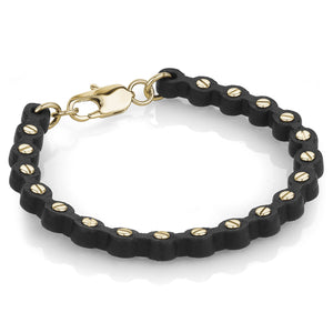 Gold Leather Screw Bracelet - Adina's Jewels