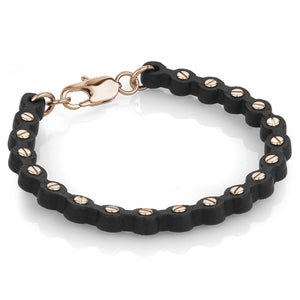 Rose Gold Leather Screw Bracelet - Adina's Jewels
