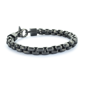 Steel Box Link Bracelet Onyx - Adina's Jewels