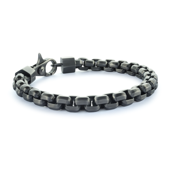 Onyx Steel Box Link Bracelet - Adina's Jewels